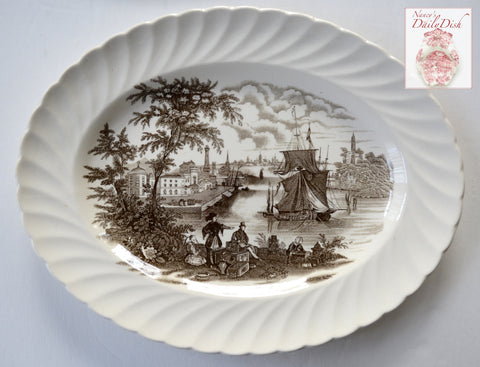 Brown Transferware Ironstone Platter Safe Harbour Ship Port Scene