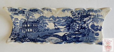 Blue English Transferware Clarice Cliff Tray Staffordshire Dish