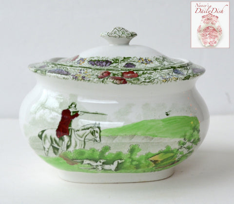 RARE Green Polychrome Transferware Covered Sugar Bowl English Hunt Scene Spode Copeland Field Sports