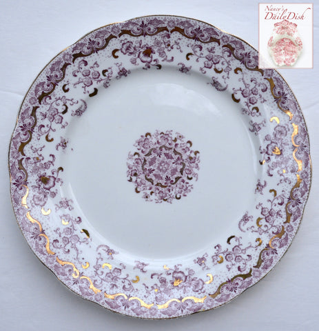 "Purple English Transferware John Maddock Lace and Flowers 8"" Salad Plate"