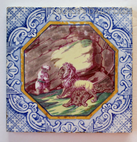 Antique Early Minton Staffordshire Two Color Blue & Purple Transferware Tile Aesop's Fables