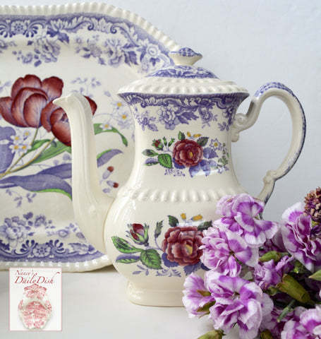 Vintage Spode Mayflower Periwinkle / Lavender Transferware Tall Teapot Coffee Pot Hand Painted Pink Flowers