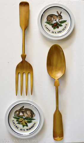 "Huge 20"" Vintage French Country Farmhouse Painted Metal Fork & Spoon Plaques"