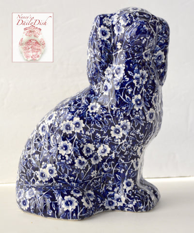 Blue Calico Chintz English Transferware Staffordshire Spaniel Dog