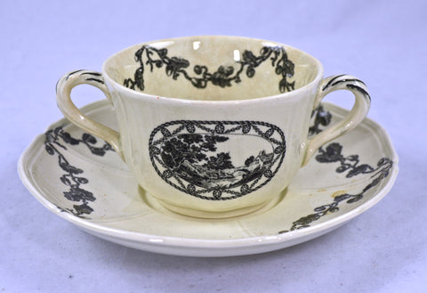 Antique Wedgwood Etruria Black Transferware  Bewick Acorn & Leaf Handled Soup Bowl and Saucer