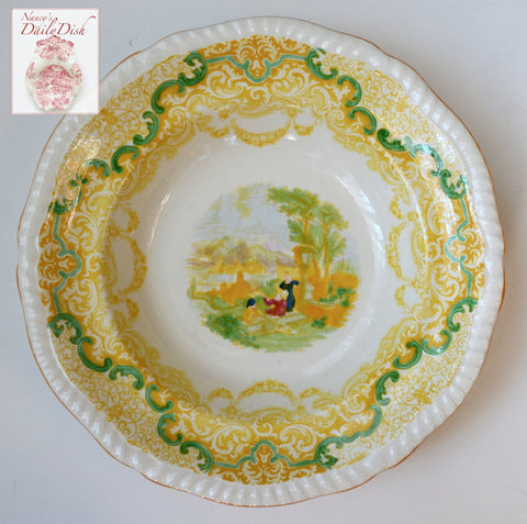 Spode Copeland Continental Views Yellow Transferware Rimmed Soup / Salad Bowl Hand Painted