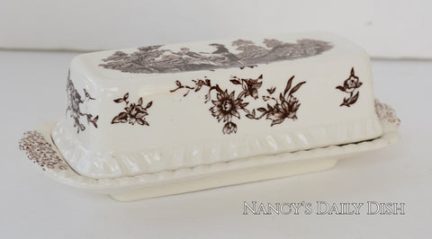 Brown Toile Transferware Masons Watteau Covered Butter Dish Romantic Staffordshire China