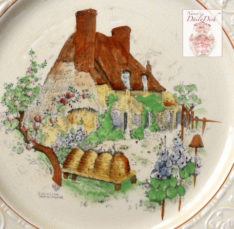 Hand Painted Brown Transferware Plate Bee Skep Plate Thatched Cottage English Garden