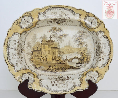 RARE Circa 1830 Rare Two Color Brown Yellow Transferware Rimmed Serving Bowl John Ridgway Villa