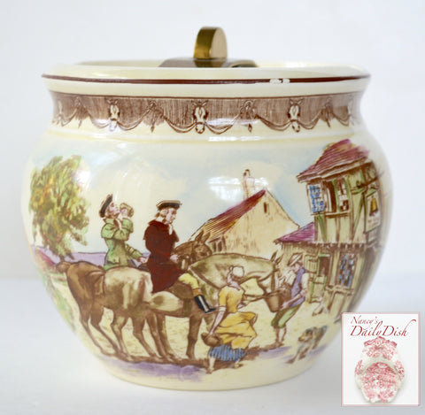 Antique Hand Painted Royal Winton English Humidor / Tobacco Jar Equestrian Horse Brown Transferware
