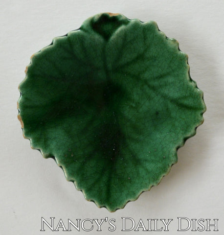 Rare Staffordshire Antique Majolica Leaf Butter Pat Edge Malkin