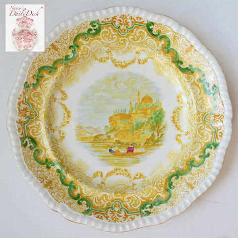 "Spode Copeland Continental Views Yellow Polychrome Transferware 9 1/2"" Dinner Plate"