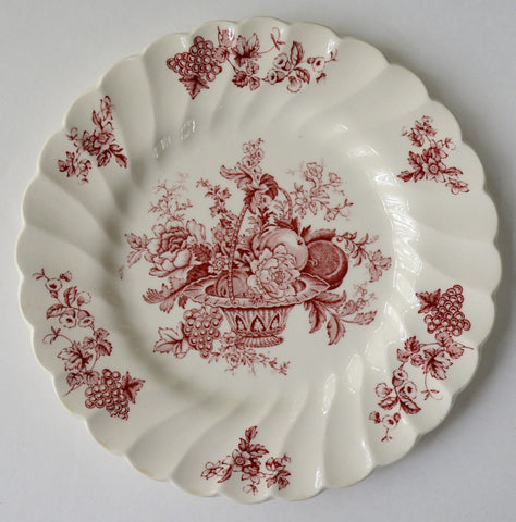 "Vintage Red English Transferware 6"" Plate Bountiful Basket of Fruits & Flowers"