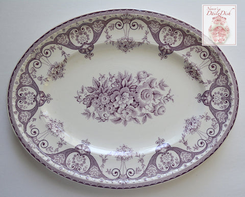 Large Purple Vintage English Transferware Platter Shabby French Victorian Roses & Scrolls