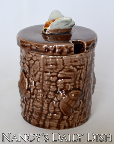 Vintage Chocolate Brown Majolica Honey Pot Faux Bois Barrel w Bee on Lid