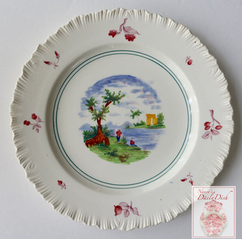 Wedgwood Multicolored Transferware Plate  Summertime Fishing On the Lake Embossed Border