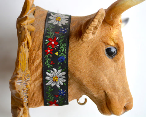 French Country Cow / Bull Head Black Forest Plaque Wall Hanging w/ Embroidered Cow Bell Holder