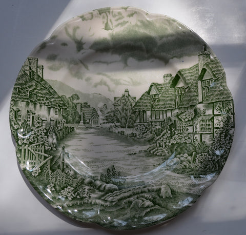 Vintage Johnson Brothers Green Transferware Plate English Cottage Mother Daughter