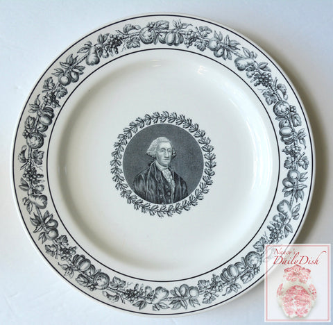 Spode Copeland Black Transferware Historical Charger Portrait Plate George Washington Commemorative Centennial