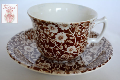 Vintage Floral Chintz Brown Transferware Calico Teacup & Saucer Staffordshire