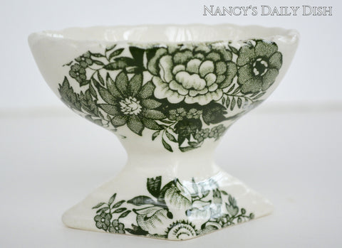 Vintage Green English Transferware Footed Master Salt Cellar Pedestal Roses