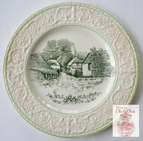 Dark Green Transferware Plate Rural English Cottages Cockington Forge Embossed Border