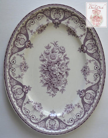 Purple Vintage English Transferware Platter Shabby French Victorian Roses & Scrolls M