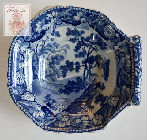 Antique Early 19thC Staffordshire Blue Transferware Pearlware Pickle Dish Landscape