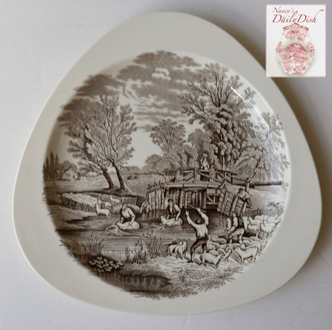 1880 Brown Transferware Pastoral Sheep Crossing Stream Triangle Plate Copeland Spode RURAL SCENES by DUNCAN