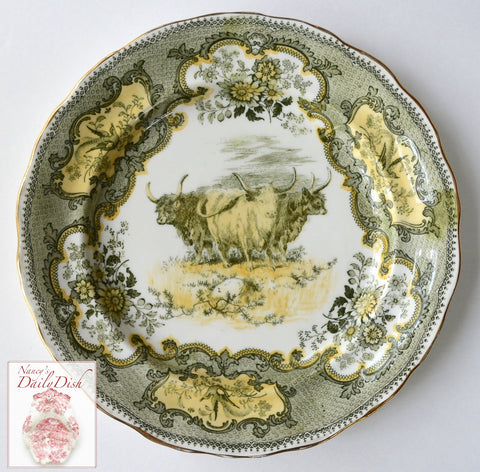Burslem Doulton Antique Highland Cattle Cows Charger Plate Green Yellow Transferware Staffordshire China  RARE