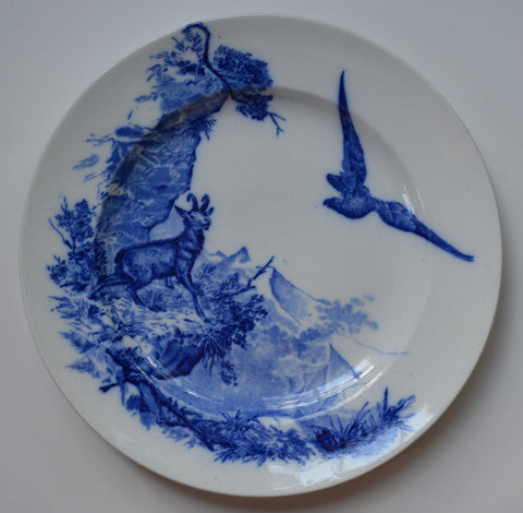 William Brownfield Sylvan Wildlife in the Alps Blue and White China Antique English Transferware Plate Aesthetic Movement