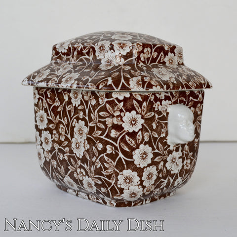Brown and White Calico Chintz Staffordshire Transferware Tea Caddy Figural Face Shaped Handles Lidded Jar