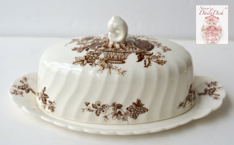 Vintage English Brown Transferware Covered Butter Dish Bountiful  Victorian Basket of Fruits & Flowers