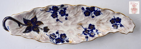 Antique Flow Blue Cherry / Apple Blossom S Hancock Leaf Shaped Platter Tray Circa 1890