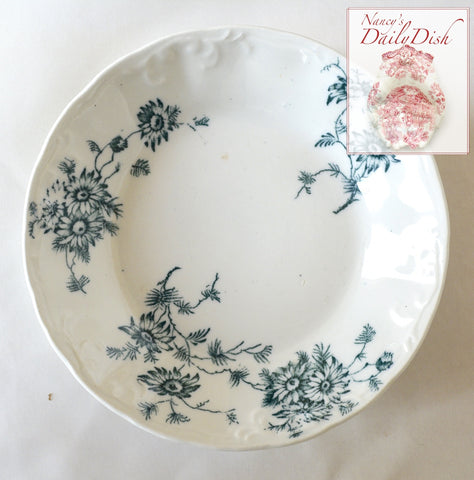 Teal Green - Blue Daisies English Transferware Embossed Candy Bowl Trinket Dish Circa 1900