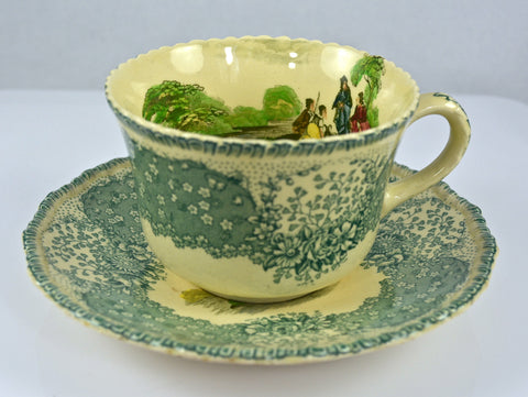 Rare Vintage English Polychrome Teal Green Transferware Scenic Tea Cup & Saucer Cattle Goat Bridge Royal Doulton Chatham