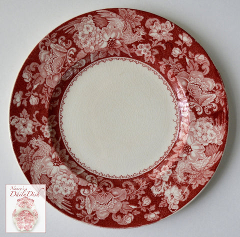 Vintage Red Transferware Plate French Roosters Roses & Scrolls Davenport Clarice Cliff