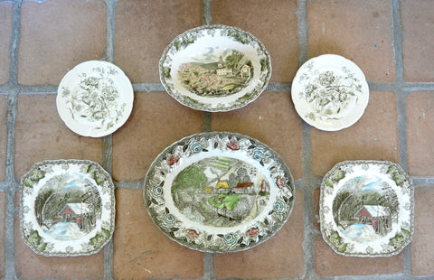 Set 6 Wall Display Mix n Match Vintage English Sage Green -ish Brown Transferware Plates Platter Hand Painted Friendly Village
