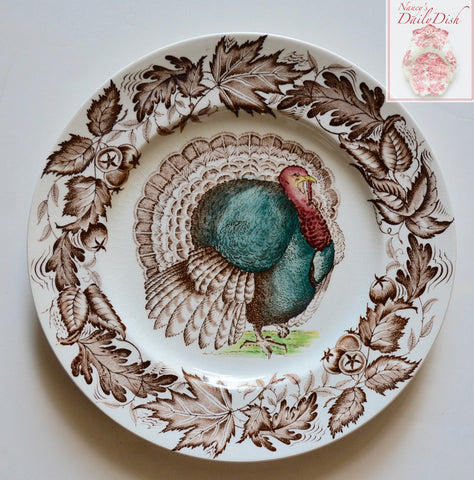 Thanksgiving Dinner Plate Tom Turkey Brown Transferware Plate / Charger Royal Staffordshire Clarice Cliff  Autumn Foliage