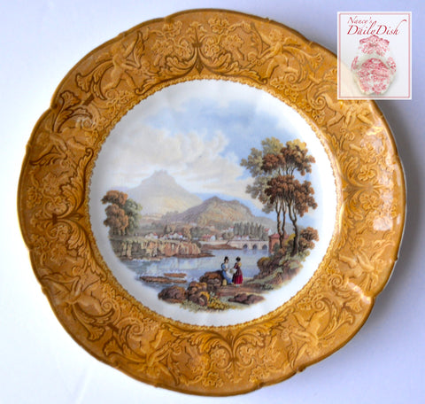 Antique Pastoral River Scene Prattware Brown Transferware Plate  Gold Cherubs Border