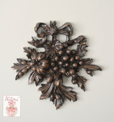 Architectural Accent Bronze Finish Ribbon & Fruit Over Door Picture Topper French Etienne