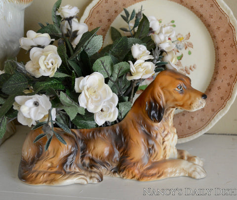 Vintage Figural Brown English or Irish Setter Dog Figurine Planter Flower Pot