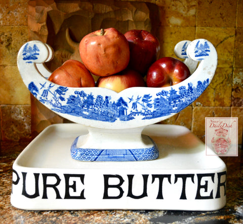 circa 1820-30 RARE Antique Victorian Blue and White Staffordshire Transferware Large Cheese Cradle