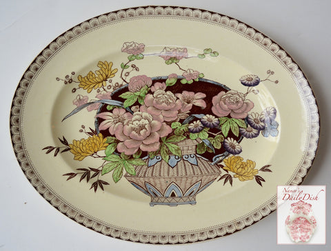 RARE Clarice Cliff Brown Transferware Clobbered Platter Newport Ophelia Basket of Flowers