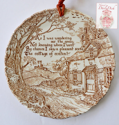 Brown Toile Transferware Plaque English Ironstone The Cottage of Content - Home Poem