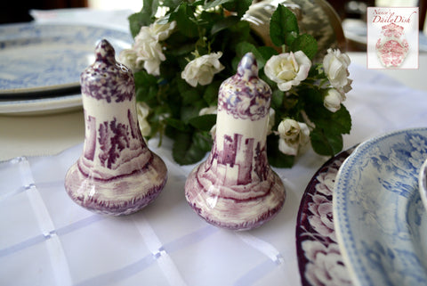 Circa 1930 Purple Aubergine Transferware Salt & Pepper Shakers Dripping Roses Wood and Sons Castles