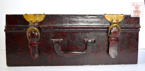 Vintage Wood Carrying Case / Suitcase / Briefcase - Bonded Leather & Buckle Handle