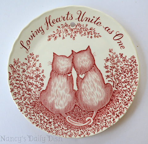 Romantic Love Red Cats Transferware Plaque English Ironstone Loving Hearts Unite As One