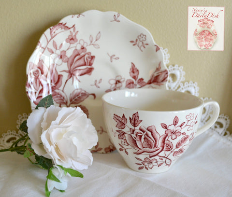 Romantic Vintage Red Tudor Roses English Transferware Tea Cup & Saucer