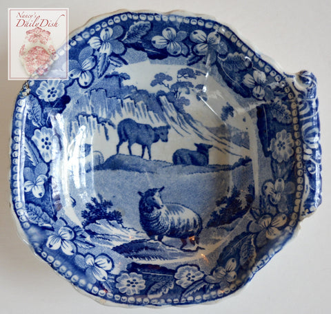 Antique 18th or early 19thC Staffordshire Blue Transferware Pearlware Pickle Dish Sheep